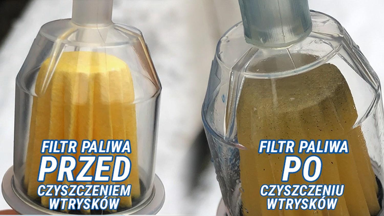 Filtr paliwa przed i po